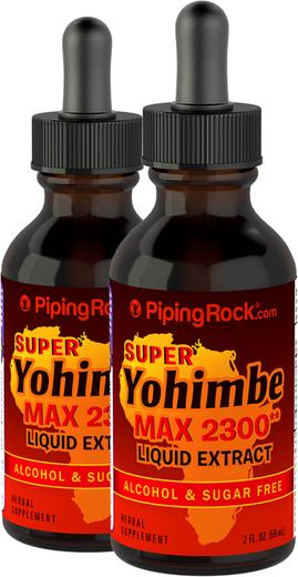 Super Yohimbe Max Liquid Extract Alcohol Free 2300 mg, 2 fl oz (59 mL) x 2 Dropper Bottles