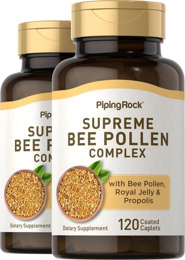 Complexo de pólen de abelha supremo, 120 Comprimidos oblongos revestidos, 2  Frascos