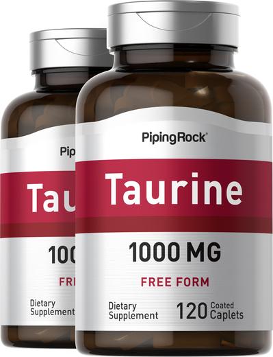 Taurina , 1000 mg, 120 Comprimidos oblongos revestidos, 2  Frascos