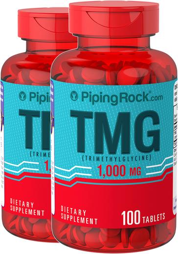 TMG 1000mg Trimethylglycine 2 Bottles x 100  Coated Caplets