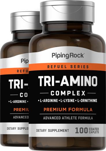 Tri-amino L-arginina L-ornitina L-lisina, 100 Comprimidos oblongos revestidos, 2  Frascos