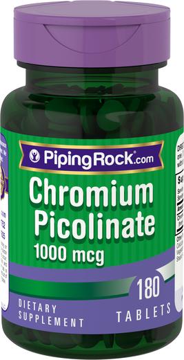 Buy Chromium Picolinate 1000 mcg 2 Bottles x 180 Tablets