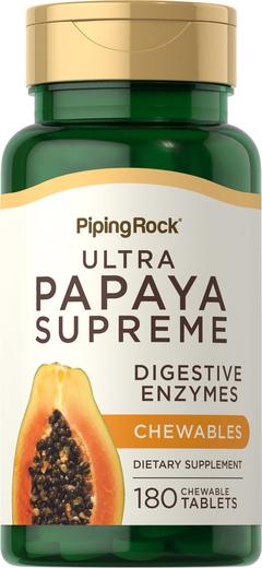 Ultra enzima de papaia suprema, 180 Comprimidos mastigáveis