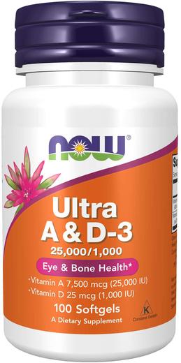 Ultra Vitamin A & D3 (25,000/1,000 IU), 100 Softgels