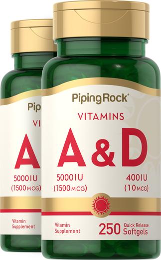 Vitamin A & D3   A-5000 IU D-400 IU  2 Bottles x 250 Softgels