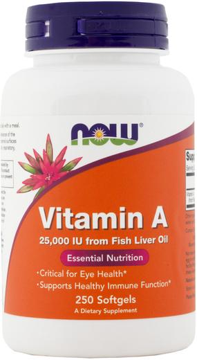 Vitamina A (Óleo de peixe), 25000 IU, 250 Cápsulas gelatinosas