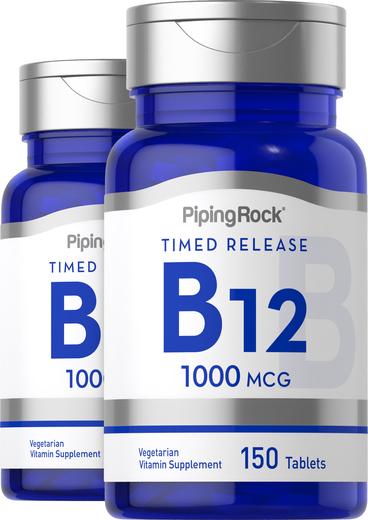 Lançamento da Vitamina B-12 , 1000 mcg, 150 Comprimidos, 2  Frascos