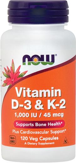 Witamina D3 i K2 (1000 IU / 45 mcg) 120 Kapsułki wegetariańskie