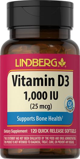 Vitamin D3 1000 IU, 120 Softgels