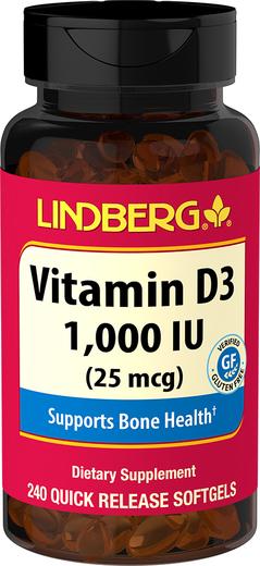 Vitamin D3, 1000 IU, 240 Quick Release Softgels