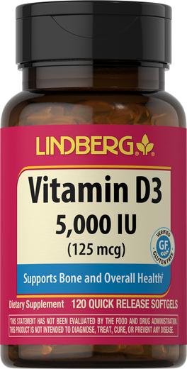 Vitamin D3 5000 IU, 120 Softgels