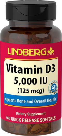 Vitamin D3, 5000 IU, 240 Softgels