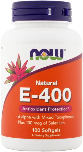 Vitamin E-400 (d-Alpha with Mixed Tocopherols) & Selenium, 100 Softgels