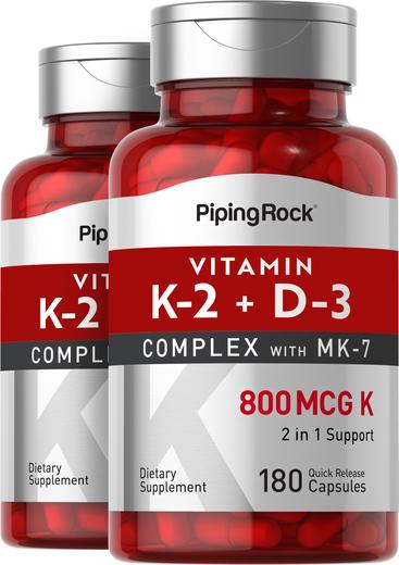 Vitamin K-2 Complex 800 mcg with D3, 180 Capsules x 2 Bottles