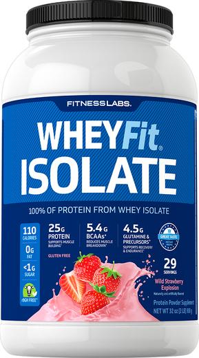 Białko serwatkowe WheyFit Izolat (Poziomkowa eksplozja smaku)  2 lb (908 g) Butelka