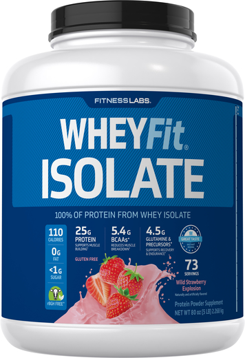 Białko serwatkowe WheyFit Izolat (Poziomkowa eksplozja smaku)  5 lb (2.268 kg) Butelka