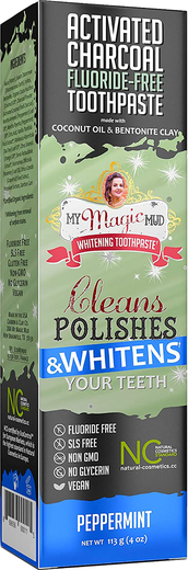 Activated Charcoal Flouride-Free Toothpaste (Peppermint),. 4 oz Tube