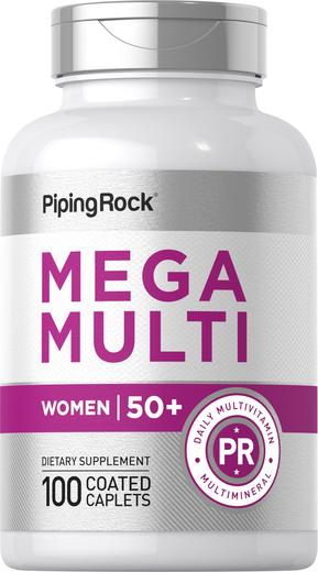 Mega-multi-vitaminer for kvinner 50 + 100 Belagte kapsler