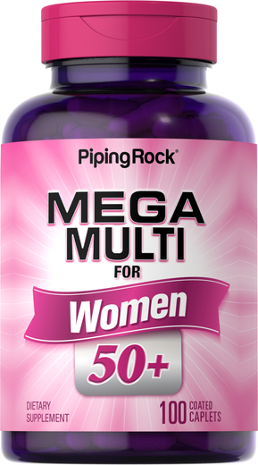 Mega-multi-vitaminer for kvinner 50 + 100 Belagte kapsler