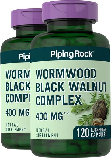 Wormwood Black Walnut Complex 400 mg 2 Bottles x 120 Capsules
