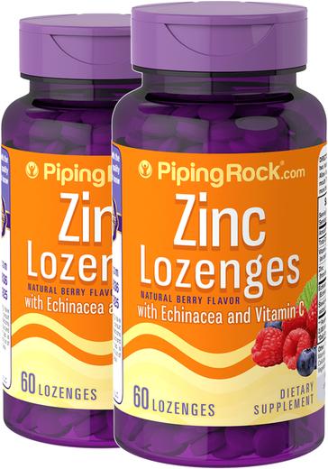 Pastilhas de zinco com equinácea e vitamina C (sabor a bagas natural), 60 Pastilhas, 2  Frascos