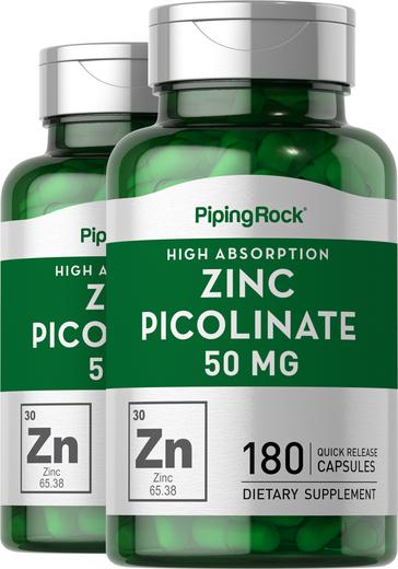 Zinc Picolinate 50 mg 2 Bottles x 180 Capsules