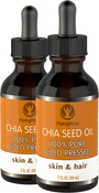 Chia Seed Oil For Skin, Hair, Lip and Nail Care 2 Dropper Bottles x 2 fl oz (59 mL)