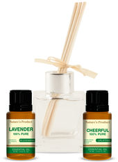 Gift Pack With Cheerful Oil & Lavender Essential Oil + Glass Reed Diffuser 2 Essential Oils + 1 Reed Diffuser