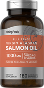 Huile de saumon 1000mg Vierge sauvage d'Alaska Gamme complète 180 Capsules molles à libération rapide
