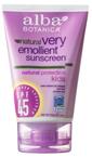 Alba Botanica Very Emollient SPF 45 Sunscreen 4 oz (113 g) Tube