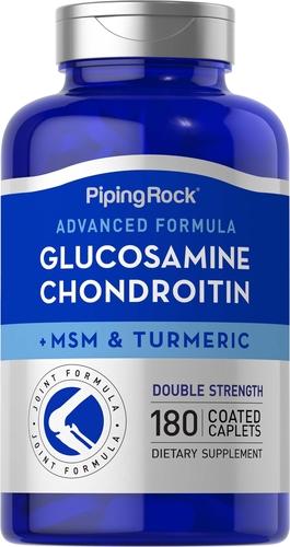 Advanced Double Strength Glucosamine Chondroitin MSM Plus Turmeric, 180 Coated Caplets