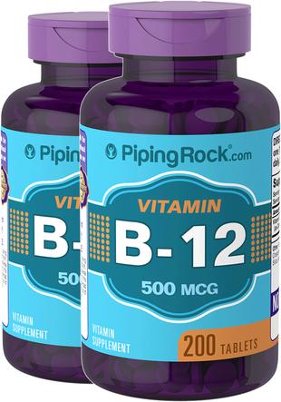 Vitamin B-12  500mcg  2 Bottles x 200 Tables
