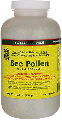 Gránulos de polen de abeja enteros, baja humedad 16 oz (1 lb) Botella/Frasco