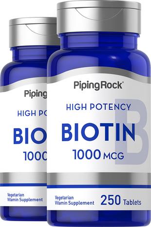Biotin 1000 mcg  (1 mg) 2 Bottles x 250 Tablets