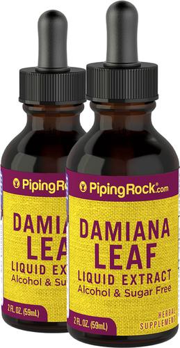 Extracto líquido de hoja de damiana, sin alcohol 2 fl oz (59 mL) Frasco con dosificador