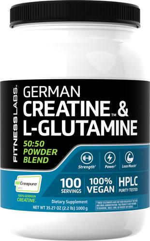 Niemiecka Monohydrat kretyny (Creapure) & L-glutamina w proszku (50:50 Mieszanka) 2.2 lb (1000 g) Butelka