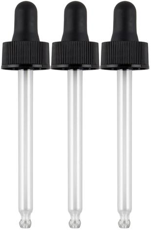 Essential Oils Bottles Glass Dropper 3 Pack (Fits 2 oz Bottles)