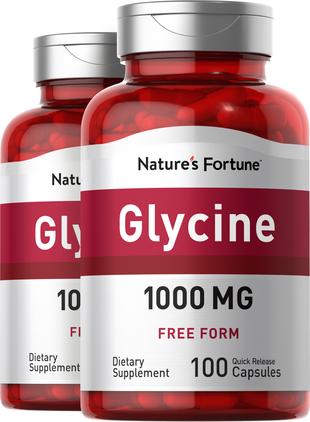 Glycine, 1000 mg, 100 Capsules, 2  Bottles