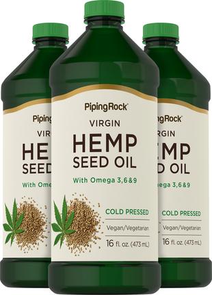 Óleo de sementes de cânhamo (pressão a frio) 16 fl oz (473 mL) Frascos