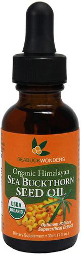 Olej z nasion rokitnika 100% (Organiczna) 1 fl oz (30 ml) Butelka z zakraplaczem