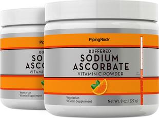 Poudre d'ascorbate de sodium à la vitamine C Tamponnée 8 oz (227 g) Bouteilles