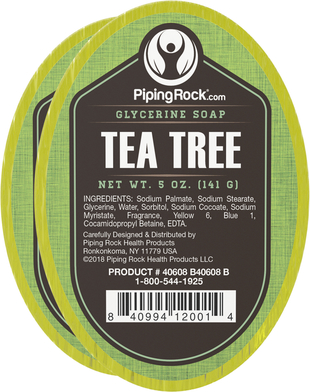 Tea Tree Oil Glycerine Soap 2 Bars x 5 oz (141 g)