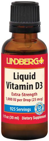 Witamina D3 w płynie, 1000 IU (na kroplę) 1 fl oz (30 mL) Butelka