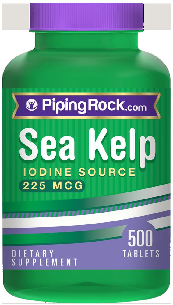 sea kelp iodine source 225 mcg 225 mcg 500 tablets kelp supplements piping rock health products