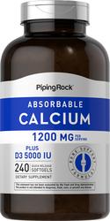 Calcium absorbable 1200mcg plus D 5000IU (par portion)  240 Capsules molles à libération rapide