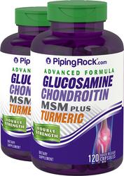 Geavanceerde glucosaminechondroïtine dubbele sterkte MSM-plus Kurkuma 120 Snel afgevende capsules