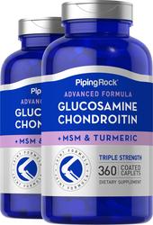Glucosamina, condroitina, MSM Plus de triple concentración avanzada Cúrcuma 360 Comprimidos recubiertos