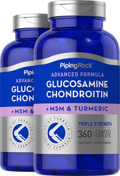 Glucosamine Chondroitin MSM Triple Strength plus Turmeric 2 Bottles x 360 Coated Caplets