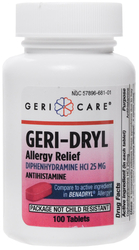 Antihistamine Diphenhydramine HCl 25mg (Allergy Relief), 100 Tablets