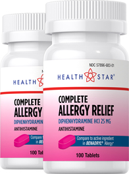 Antihistamine Diphenhydramine HCl 25 mg (Allergy Relief) 2 Bottles x 100 Mini Tablets